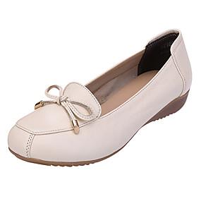voordelige Damesschoenen met platte hak-Dames Platte schoenen Leren schoenen Sleehak Gesloten teen  Strik Nappaleer Comfortabel / Ballerina Zomer Beige / Grijs / Groen
