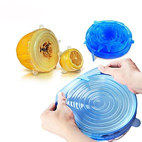 baratos Novidades-6pcs silicone universal envoltório de alimentos tampa-tigela tampa de silicone pan cozinha aferidor de tampa de vácuo