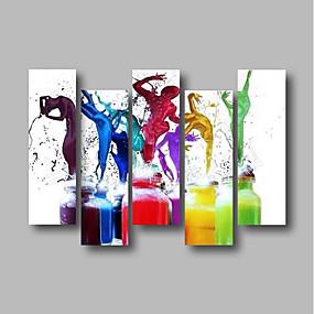 preiswerte Ölgemälde-Hang-Ölgemälde Handgemalte - Abstrakt Menschen Zeitgenössisch Modern Fügen Innenrahmen / Fünf Panele / Gestreckte Leinwand