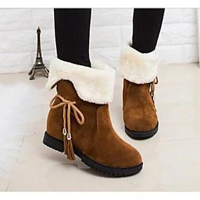 voordelige Wijdere maten schoenen-Dames Laarzen Lage hak PU Comfortabel / Snowboots Winter Zwart / Bruin / Rood / EU39