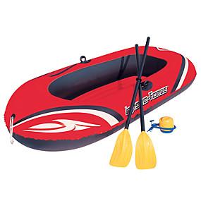 preiswerte Kanufahren-2 Personen Aufblasbares Boot-Set mit Hand-Luftpumpe French Oars PVC Tragbare Faltung Angeln Bootfahren Wassersport 196*114 cm