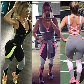 cheap Yoga & Fitness-Women's Tracksuit Workout Jumpsuit Criss Cross Open Back Color Block Grey Yoga Fitness Running Sleeveless Sport Activewear Breathable Quick Dry Moisture Wicking Push Up Micro-elastic
