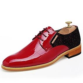 levne Větší obuv-Pánské Komfortní boty Lakovaná kůže Podzim Oxfordské Černá / Červená / Venkovní