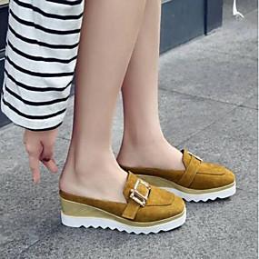 cheap Women's Clogs & Mules-Women's Clogs & Mules Wedge Heel Round Toe PU Comfort Summer Black / Yellow