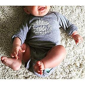 preiswerte Weihnachten-Baby Jungen Grundlegend Druck Langarm Baumwolle Einzelteil Grau