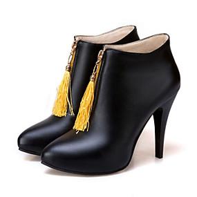 billige Mote Boots-Dame Støvler Novelty Shoes Stiletthæl Spisstå Dusk PU Ankelstøvler Trendy støvler / Ankelstøvel Høst vinter Svart / Gul / Rød / Fest / aften