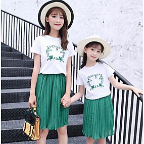 preiswerte Weihnachten-Mama und ich Grundlegend Alltag Geometrisch Kurzarm Kleidungs Set Grün