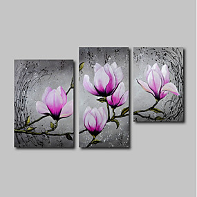 povoljno Slike za cvjetnim/biljnim motivima-Hang oslikana uljanim bojama Ručno oslikana - Pejzaž Cvjetni / Botanički Comtemporary Uključi Unutarnji okvir / Tri plohe / Prošireni platno