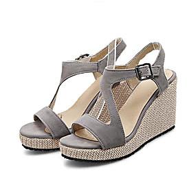 preiswerte Sandalen mit Keilabsatz-Damen Sandalen Keilabsatz Wildleder Komfort Sommer Schwarz / Grau / Staubige Rose