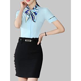 preiswerte Damenbekleidung-Damen Solide / Gestreift / Einfarbig Arbeit Baumwolle Hemd Schlank Patchwork / Druck Weiß