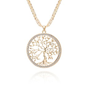 cheap Graduation-Women's AAA Cubic Zirconia Statement Necklace Cross Body Tree of Life life Tree Ladies Classic Holiday Army Rhinestone Alloy Gold Silver Rose Gold 75 cm Necklace Jewelry 1pc For Going out Club