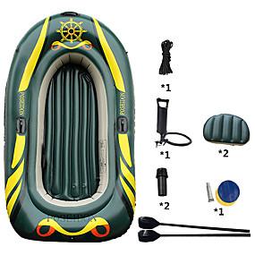 preiswerte Kanufahren-3-4 Personen Aufblasbares Boot-Set mit Hand-Luftpumpe Campingmatte French Oars PVC Tragbare Faltung Angeln Bootfahren 215*125*27 cm