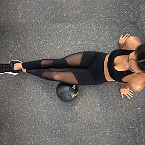 cheap Yoga & Fitness-Women's High Waist Yoga Pants See Through Leggings Breathable Black Mesh Spandex Zumba Fitness Dance Sports Activewear Stretchy