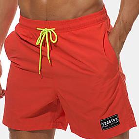 preiswerte 2019 Shorts-Herrn Strand Design / Tropisch Übergrössen Alltag Strand Chinos / Kurze Hosen Hose - Solide / Buchstabe Bestickt / Druck Sommer Orange Gelb Hellgrün XXL XXXL XXXXL