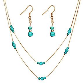 preiswerte Schmuck Sets-Damen Tropfen-Ohrringe Halskette Klassisch Retro damas Tropisch Romantisch Ohrringe Schmuck Gold / Silber Für Ausgehen Festival