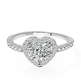 billige engasjement-Dame Ring Micro Pave Ring 1pc Sølv Messing Platin Belagt Fuskediamant damer Klassisk Elegant Bryllup Maskerade Smykker Elegant HALO Pave Hjerte Kjærlighed Smuk