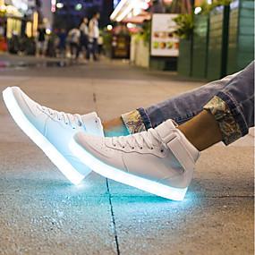 levne Větší obuv-Pánské Světelné boty PU Léto Tenisky Bílá / Černá