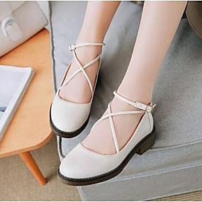 voordelige Damesschoenen met platte hak-Dames Platte schoenen Lage hak Gesloten teen  Nappaleer Comfortabel Zomer Zwart / Wit / Geel
