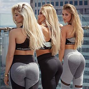 cheap Yoga & Fitness-Women's High Waist Yoga Pants Cropped Leggings Patchwork Leggings Bottoms Butt Lift Quick Dry Moisture Wicking Heart Dark Grey Light Grey Mesh Spandex Zumba Fitness Gym Workout Summer Sports
