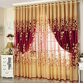 cheap Curtains Drapes-Blackout Curtains Drapes Two Panels Living Room Floral 100% Polyester Jacquard