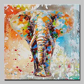 voordelige Schilderijen van dieren-Hang-geschilderd olieverfschilderij Handgeschilderde - Cartoon Pop Art Modern Inclusief Inner Frame / Uitgerekt canvas