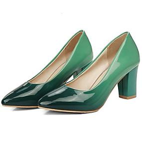 cheap Women's Pumps-Women's Heels Party Heels Chunky Heel PU(Polyurethane) Basic Pump Winter Green / Purple / Red / Daily