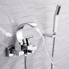 preiswerte Discount-Hähne-Badewannenarmaturen - Moderne Chrom Wandmontage Keramisches Ventil Bath Shower Mixer Taps / Einhand Drei Löcher