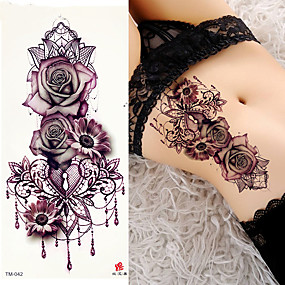 cheap Temporary Tattoos-3 pcs decal style temporary tattoos shoulder temporary tattoos flower series romantic series smooth sticker safety body arts party evening daily