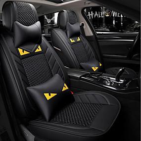 billige Spesialtilbud-5 seter svart tegneserie bilsete med to nakkestøtter og to midjeputer / pu lær og issidemateriale / kollisjonspute / airbag / justerbar og avtakbar / fire sesonger universal
