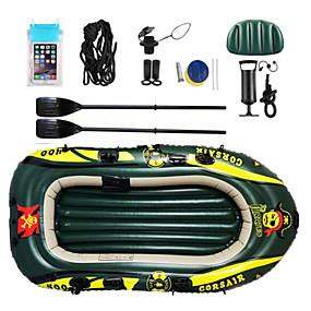 preiswerte Kanufahren-2 Personen Aufblasbares Boot-Set mit Hand-Luftpumpe Campingmatte French Oars PVC Tragbare Faltung Angeln Bootfahren Wassersport 182*120*21 cm