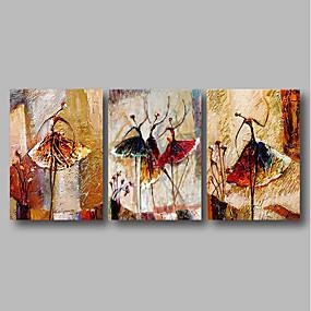 povoljno Popust Collection-Hang oslikana uljanim bojama Ručno oslikana - Sažetak Comtemporary Uključi Unutarnji okvir / Tri plohe / Prošireni platno