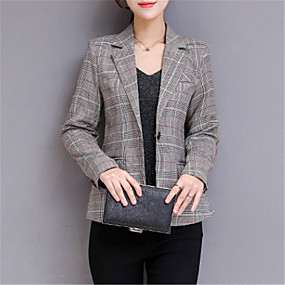 cheap Women's Outerwear-Women's Daily Basic Regular Blazer, Solid Colored Shirt Collar Long Sleeve Polyester Gray