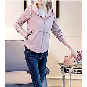 preiswerte Damenbekleidung-Damen Alltag Aktiv Kurz Jacke, Solide Mit Kapuze Langarm Polyester Beige / Gelb / Leicht Blau