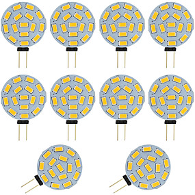 cheap Light Bulbs-10pcs  2W G4 LED Bi-pin Bulb Round 15 SMD 5730 DC / AC 12 - 24V Warm / Cold White