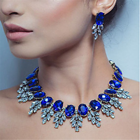 cheap Clearance-Women's Sapphire Crystal High End Crystal Stud Earrings Choker Necklace Statement Necklace Hollow Emerald Cut Flower Botanical Statement Ladies Luxury Fashion Elegant Earrings Jewelry Red / Green