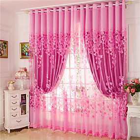 cheap Curtains & Drapes-Curtains Drapes Two Panels Living Room Floral 100% Polyester Jacquard