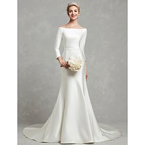preiswerte The Wedding Store-- To Beautiful you-A-Linie Bateau Hals Kirchen Schleppe Satin Maßgeschneiderte Brautkleider mit Schleife(n) / Schärpe / Band durch LAN TING BRIDE®