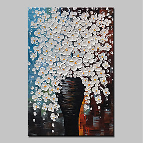 povoljno Slike za cvjetnim/biljnim motivima-Hang oslikana uljanim bojama Ručno oslikana - Mrtva priroda Cvjetni / Botanički Moderna Uključi Unutarnji okvir / Prošireni platno