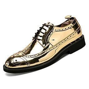 levne Větší obuv-Pánské Lakovaná kůže Podzim Pohodlné Oxfordské Zlatá / Černá / Stříbrná