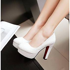 cheap Women's Pumps-Women's Heels Chunky Heel Closed Toe PU(Polyurethane) Comfort Summer White / Blue / Pink / Daily / EU41