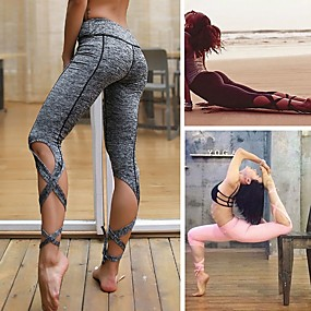 cheap Yoga & Fitness-Women's High Waist Yoga Pants String End Capri Leggings Breathable Moisture Wicking Solid Color Black Grey Pale Pink Nylon Spandex Zumba Fitness Ballet Sports Activewear Stretchy Skinny