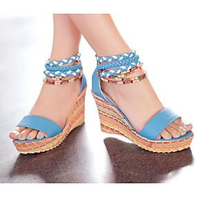 preiswerte Sandalen mit Keilabsatz-Damen Sandalen Keilabsatz PU Sommer Weiß / Orange / Blau / EU36