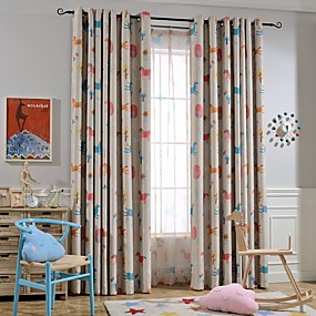 cheap Curtains & Drapes-Blackout Curtains Drapes Two Panels Kids Room Cartoon Polyester Blend Printed