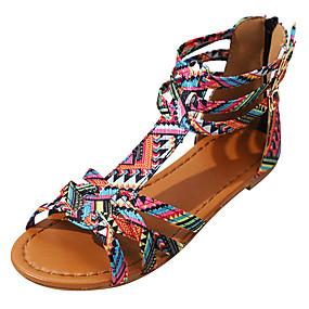 preiswerte Sandalen mit Keilabsatz-Damen Sandalen Britischen Stil Plaid Schuhe Flacher Absatz Offene Spitze Schnalle PU Komfort Sommer Purpur / Rosa / EU40