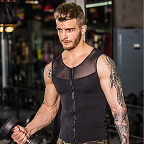 cheap Yoga & Fitness-Men's See Through Front Zipper Mesh Compression Tank Top Fitness Gym Workout Workout Breathable Quick Dry Compression Sportswear Compression Clothing Top Sleeveless Activewear High Elasticity