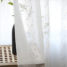 cheap Curtains & Drapes-Sheer Curtains Shades Two Panels Living Room Stripe Polyester Blend Jacquard