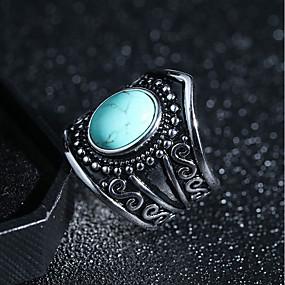 billige Vintage Ring-Dame Statement Ring Ring Turkis Obsidian 1pc Svart Lys Grønn Kobber damer Vintage Punk Profesjonell Festival Smykker Vintage Stil Solitaire Kreativ Kul