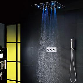 economico Rubinetti doccia-set di rubinetteria da bagno ultra lusso contemporaneo 20 pollici 7 colori ac led soffione doccia / doccetta in ottone inclusa / vasca calda e fredda valvola doccia vasca da bagno miscelatori doccia