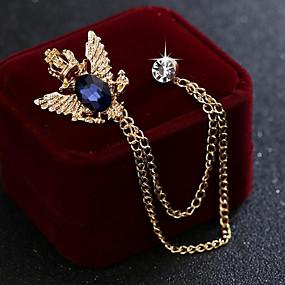 abordables Bijoux de Mariage-Homme Zircon Broche Tendance Lien / Chaîne Elégant Mode Britanique Broche Bijoux Noir Bleu Pour Mariage Vacances