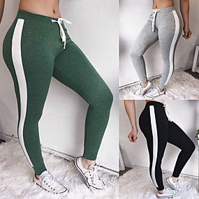 cheap Yoga & Fitness-Women's Patchwork Yoga Pants Color Block Zumba Fitness Gym Workout Skinny Pants Bottoms Activewear Compression Push Up High Elasticity